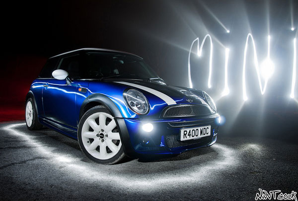BMW Mini Cooper In Blue With White Stripes The Main Attraction