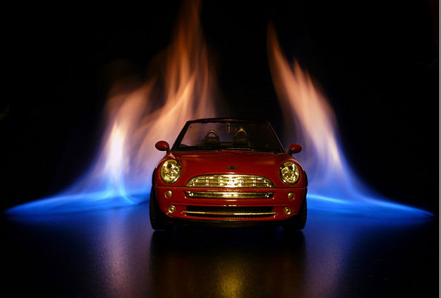 Mini Cooper on fire